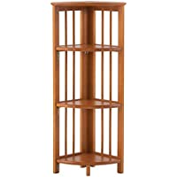 Folding Corner Bookcase, 38.75Hx11.75W, HONEY OAK