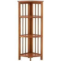 Folding Corner Bookcase, 38.75Hx11.75W, HONEY OAK