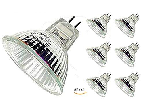 - CTKcom Halogen Light Bulbs(6 pack) - 12Volt 20Watt MR16 Halogen Lamp, Bi Pin Wide Beam High Lumens 2000Hr Life, Precision Halogen Reflector Fiber Optic Light Bulb 12V 20W, 6 pack