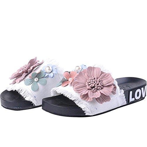 Btrada Womens Denim Sandals-Summer Non-Slip Open Toe Flats-Handmade Flowers Slides White SJdD4