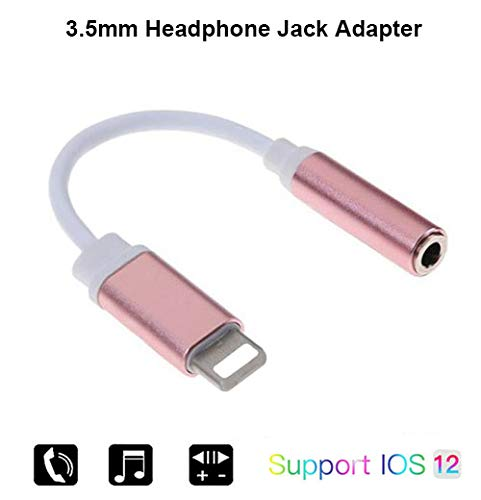 (3.5mm Headphone Jack Adapter Compatible with iPhone XR XS Max X 8 7 Plus, iPad, iPod Touch Earphone Adapter, Macsen Headset Jack Converter Support iOS 10.1~12.1 or Later (Rose Gold))