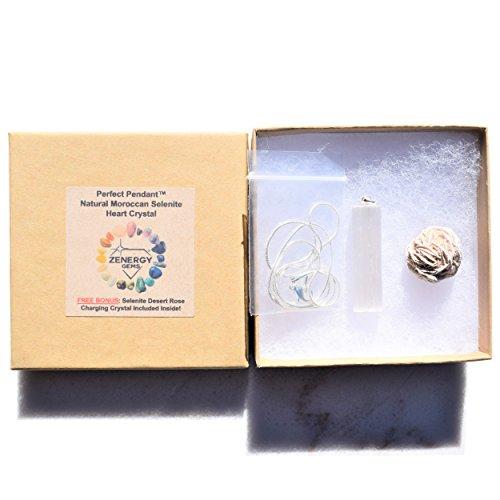 (Zenergy Gems Perfect Pendant Charged Moroccan Selenite Crystal Pendant + 20