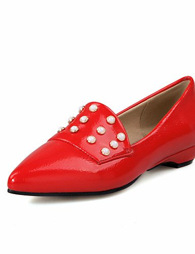 PDX/ Damenschuhe-Ballerinas-Outddor / Kleid / Lässig-Lackleder-Flacher Absatz-Spitzschuh-Schwarz / Rot / Weiß , red-us10.5 / eu42 / uk8.5 / cn43 , red-us10.5 / eu42 / uk8.5 / cn43