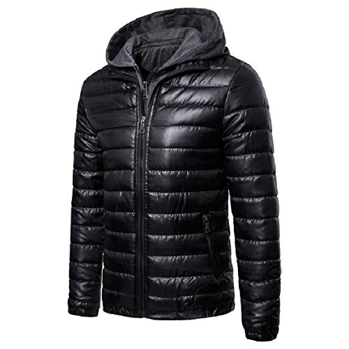 Fake Men Winter Zip Fashion Full Outwear Two Coat Hood RkBaoye Stripes Black Fit Down zBx6Uwqqd