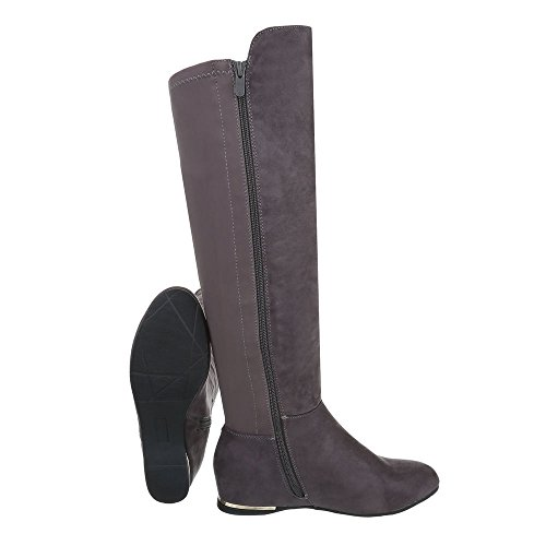 Zapatos para mujer Zapatillas Plano Zapatillas altas Ital-Design Gris L5162