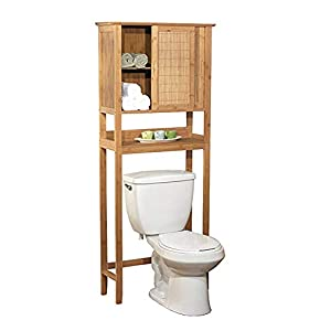 Natural Bamboo Space Saver Bathroom Storage Space – Towel Shelf Over Toilet