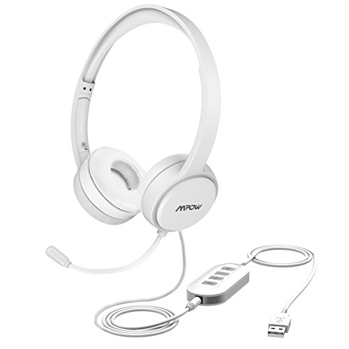 Mpow 071 USB Headset/ 3.5mm Computer Headset with Microphone Noise Cancelling, Lightweight PC Headset Wired Headphones, Business Headset for Skype, Webinar, Phone, Call Center -