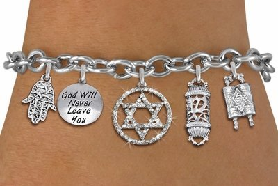Jewish Heritage Themed Silver Tone Charm Bracelet with Crystal Star Of David In Circle Charm with Jewish Silver Tone Charms