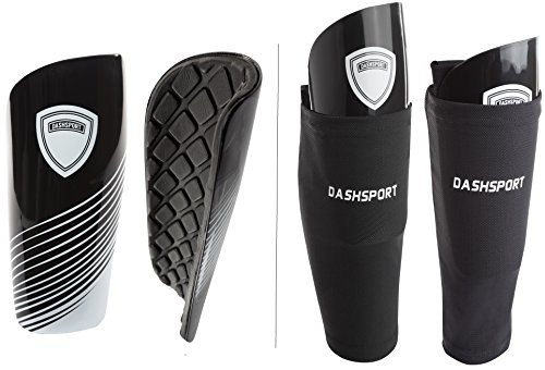 DashSport Soccer Shin Guards Youth Includes Two Shin Guards and Two Compression Calf Sleeves with...