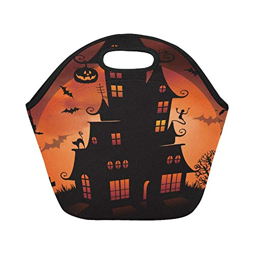 Insulated Neoprene Lunch Bag Halloween Night Background With Haunted House And Large Size Reusable Thermal Thick Lunch Tote Bags For Lunch Boxes For Outdoors,work, Office, School ()