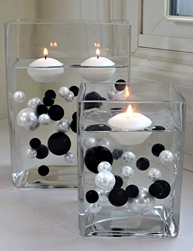 120 Floating No Hole Black & White Pearls with Matching Gems - Jumbo & Assorted Sizes Vase Decorations & Table Scatters + Includes Transparent Water Gels Packets for Floating The Pearls