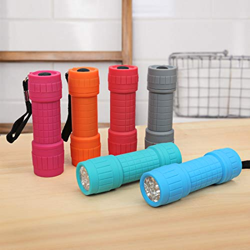 EverBrite 9-LED Flashlight 6-pack Impact Handheld Torch Assorted Colors with Lanyard 3AAA Battery Included (Hurricane Supplies, Camping, Hiking, Emergency, Hunting)