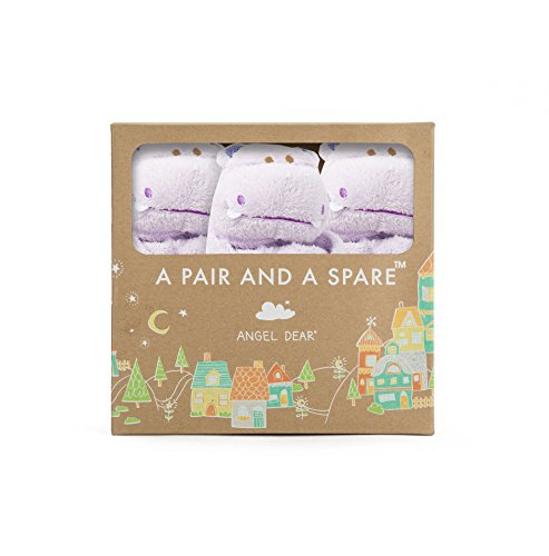 (Angel Dear Pair and a Spare 3 Piece Blanket Set, Purple Hippo)