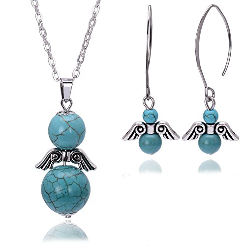 Turquoise Jewelry Set Natural Stone Bead Angel Dangle Necklace Earrings Set for Women Birthstone Jewelry