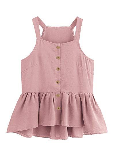 (Verdusa Women's Casual Single Breasted Ruffle Hem Racerback Cami Top Shirt Pink L )
