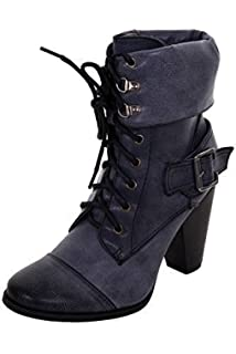 d7efd4be9d2a FANTASIA Ladies Lace Up Front Slip On Women s PU Faux Leather Chunky Heel  Boots