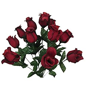 "2 Bushes RED Black Rose Buds 28 Artificial Silk Flowers 17"" Bouquet 643BKRD 43"