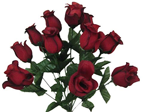 2 Bushes RED Black Rose Buds 28 Artificial Silk Flowers 17
