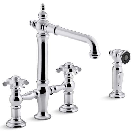 Mount Bridge (Kohler K-76519-3M-CP Artifacts Deck-Mount Bridge Kitchen Sink Faucet with Prong Handles and Sidespray)