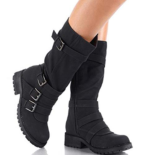 Hunleathy Women's Mid Calf Boots Buckles Combat Riding Boots Size 8 Black by Hunleathy (Image #5)