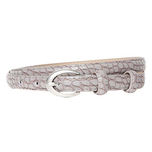 Women's Grey Snakeskin Effect Skinny Belt with Silver Oval (Skinny Snake Belt)