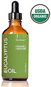 4oz USDA Organic Eucalyptus Oil by Eve Hansen - 100% Pure & Certified - With Glass Dropper - SEE RESULTS OR - Great natural remedy to combat respiratory problems and treat wounds & burns.