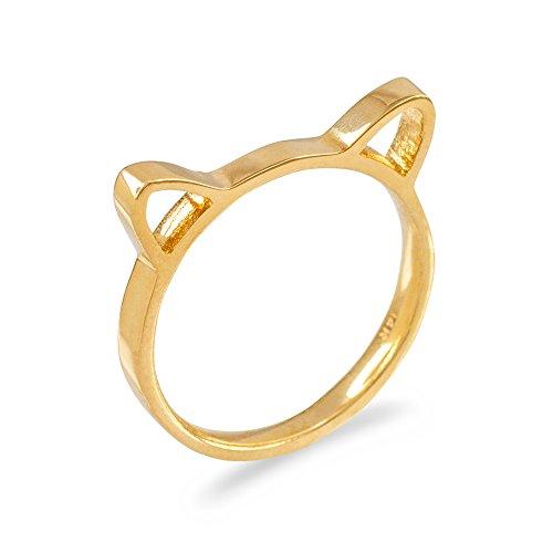14k Yellow Gold Kitty Cat Kitten Ears Silhouette Ladies Stackable Ring (Size - Ear Silhouette