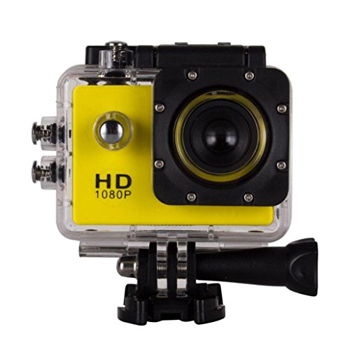 1080P Action Sports Camera -Self Timer,Tuscom Waterproof ( 30 Meters Under Water) Action Camera (1.5 Inch Ultra HD Screen)Camcorder HD 1080P Mini DV Cam (Yellow) by Tuscom