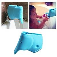 Cubierta para caño de baño - Cubierta de grifo para bañera para niños - Protector de extensión de grifo para bañera para bebé - Cubierta de caño suave de silicona Baby Blue Elephant - Baño para niños Accesorios lindos