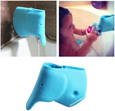 Bath Spout Cover - Bathtub Faucet Cover for Kid - Bath Tub Faucet Extender Protector for Baby - Silicone Soft Spout Cover Baby Blue Elephant - Child Bathroom Cute Accessories