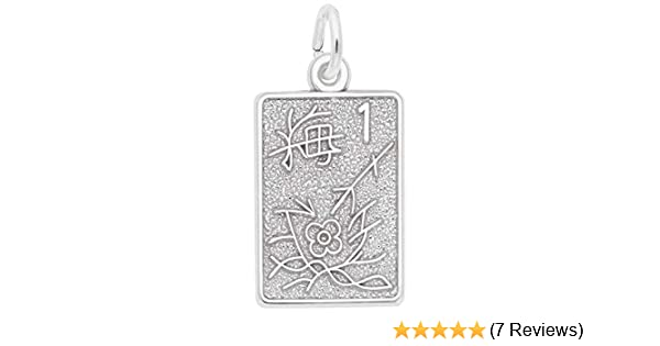 18 or 20 inch Rope Box or Curb Chain Necklace Rembrandt Charms Sterling Silver Mahjong Tile Charm on a 16