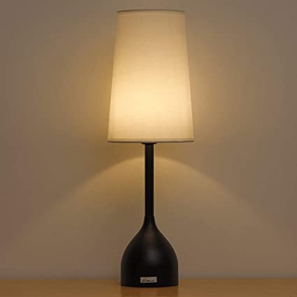 HAITRAL Black Table Lamp - Vintage Elegant Bedside Lamps with Round ...