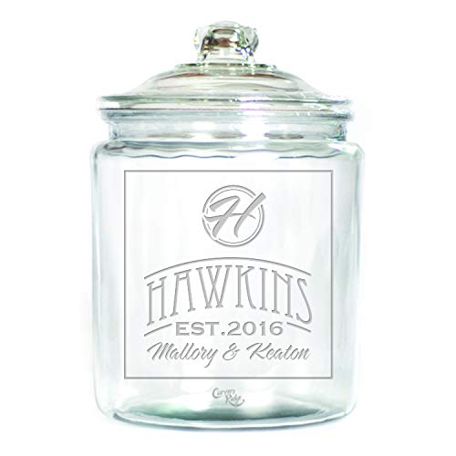 (Engraved Glass 1 Gallon Canister - Personalized - Name with Monogram in Circle)