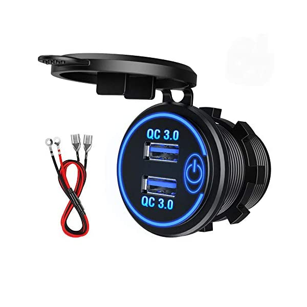 QC3.0 Auto USB Steckdose, SONRU 12V/24V KFZ Ladegerät 36W USB Quick Charge, LED Voltmeter/Schalter/Zigarettenanzünder…