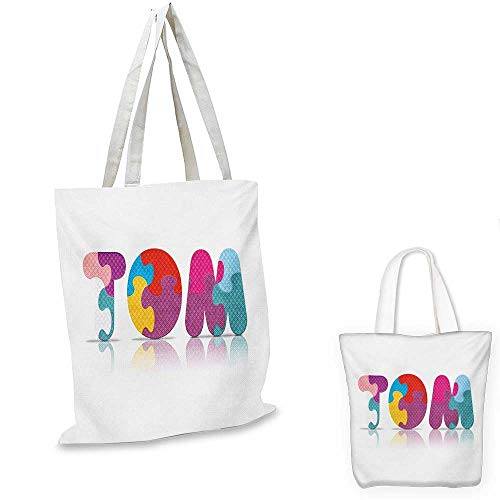(Tom canvas messenger bag Children Newborn Themed Colorful Boy Name Design Abstract Educational Puzzle Pattern canvas beach bag Multicolor. 12