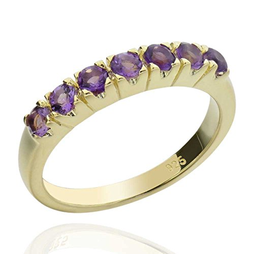 Sterling Silver 14Kt Gold-Plated Round Shaped Brazilian Amethyst Ring Sz 8