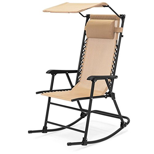 Portable Folding Rocking Chair Comfortable Headrest w/Sunshade Canopy Solid Powder-Coated Finish Steel frame Porch Rocker Zero Gravity Seats Outdoor Patio Furniture - Tan #1924 by koonlert14