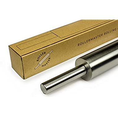RollerMaster Rolling Pin - Designed By A French Chef - Upgrade Your Baking - Non-Stick & Zero Maintenance - French Metal Stainless Steel Construction (Non Marble Pins) - [Gift Packaging]