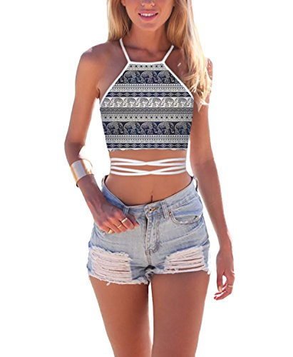 JomeDesign Women's Summer Halter Cross Hollow Boho Bandage Tank Camis Crop Top Vest,Elephant,One Size