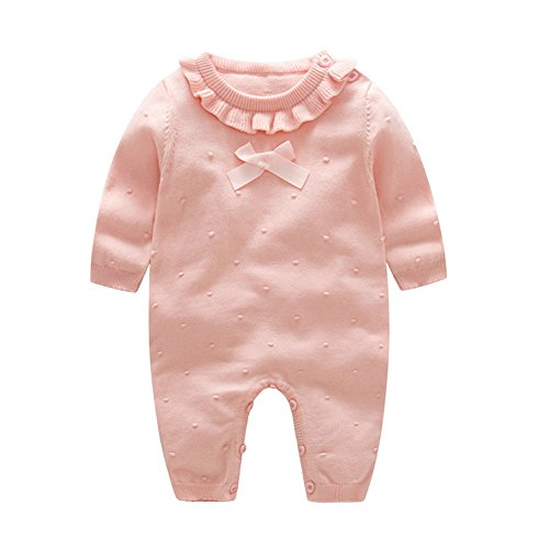 Auro Mesa Girl Winter Clothes Princess Clothes for Girls Baby Rompers Knitted Red and Pink Baby Jumpsuit (Pink, 3-6M)
