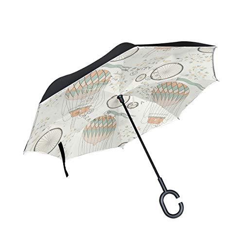 Mr.Lucien Abstract Creative Design Hot Air Balloon Pattern Inverted Umbrella Fresh Style For Girls Reverse Umbrella UV Protection Windproof for Car Rain Sun Outdoor with C-Shaped Handle 2020430