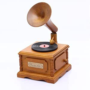 Antique Vintage Phonograph/gramophone Wind up Wooden Music Box Play the Castle in the Sky