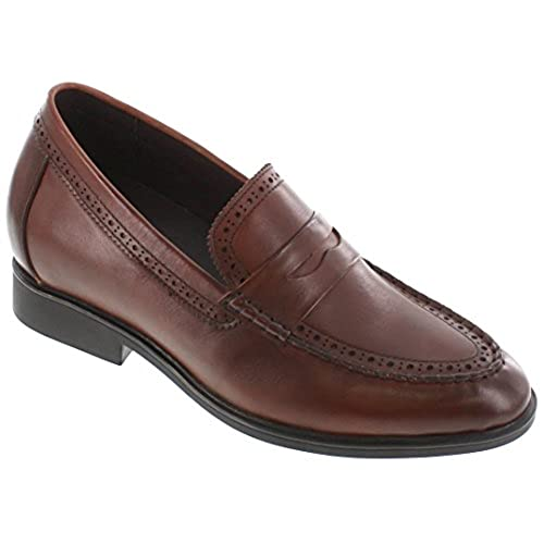 CALTO - G65702-2.8 Inches Taller - Height Increasing Elevator Shoes - Brown Lightweight Dress Shoes