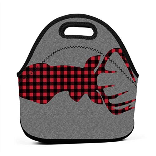 54 Width 1 Yard Panel - Large Plaid Buck Head On Grey Linen_16850 Waterproof Insulated Lunch Portable Carry Tote Picnic Storage Bag Lunch box Food Bag Gourmet Handbag For School Office ()