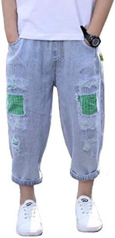 [えみり] 男の子 デニムパンツ 9分丈 ボーイズ ズボン ダメージ ストレッチ ジーンズ ウエストゴム 夏服 薄手 通気 コットン 通学 カジュアル