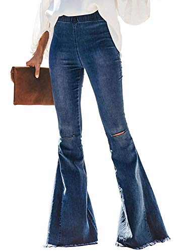 (Meilidress Women Skinny Retro Ripped Distressed High Waisted Bell Bottom Jeans)