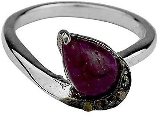 Ruby /& Diamond Oxidized Sterling Silver Ring