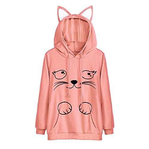 (Rambling Hot Style Girls Cute Cat Ear Pullover Hoodie Long Sleeve Kangaroo Pouch Sweatshirts Hoody (YHL Orange, M))