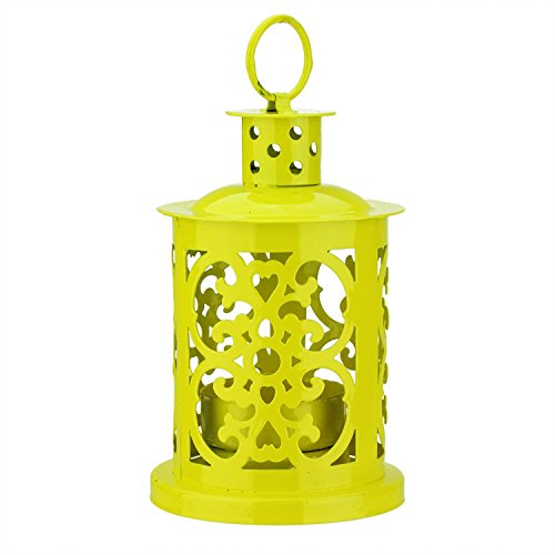 Northlight Shiny Yellow Mini Votive or Tea Light Candle Holder Lantern with Dot and Scroll Cutouts, 5.5