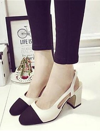 GGX/ Damenschuhe-High Heels-Büro / Kleid-Kunststoff-Blockabsatz-Absätze-Weiß / Beige beige-us8.5 / eu39 / uk6.5 / cn40